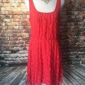 As U Wish Coral Lace Flower Dress Size L